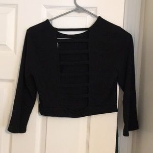 Black, 3/4 sleeves, strapped open back